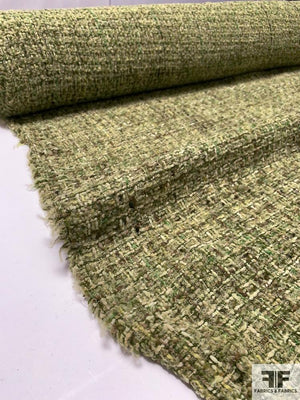 Italian Wool-Acrylic Boucle Tweed - Shades of Green