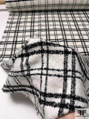 Italian Super Soft Plaid Jacket Weight Boucle Coating - Off-White / Black
