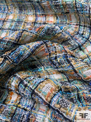 Classic Glam Lightweight Loosely Woven Acrylic Tweed with Lurex - Blue / Orange / Mint / Navy / White