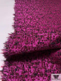 Glam Textured Boucle Jacket Weight Tweed - Magenta / Wine / Black / Gold