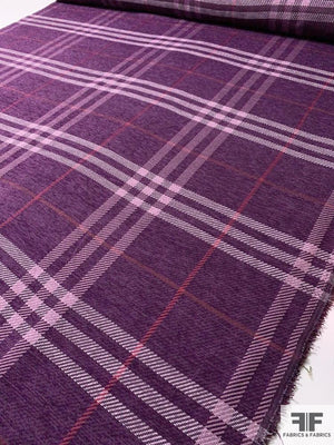 Large Scale Plaid Chenille Jacket Weight Suiting - Purple / Berry / Pink