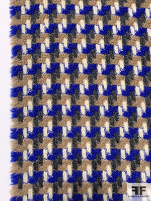 Woven Houndstooth Pattern Wool Coating - Royal Blue / Tan / Cream