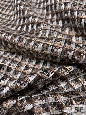 Italian Metallic Windowpane Boucle Wool Blend Tweed - Silver / Brown / Grey / Black
