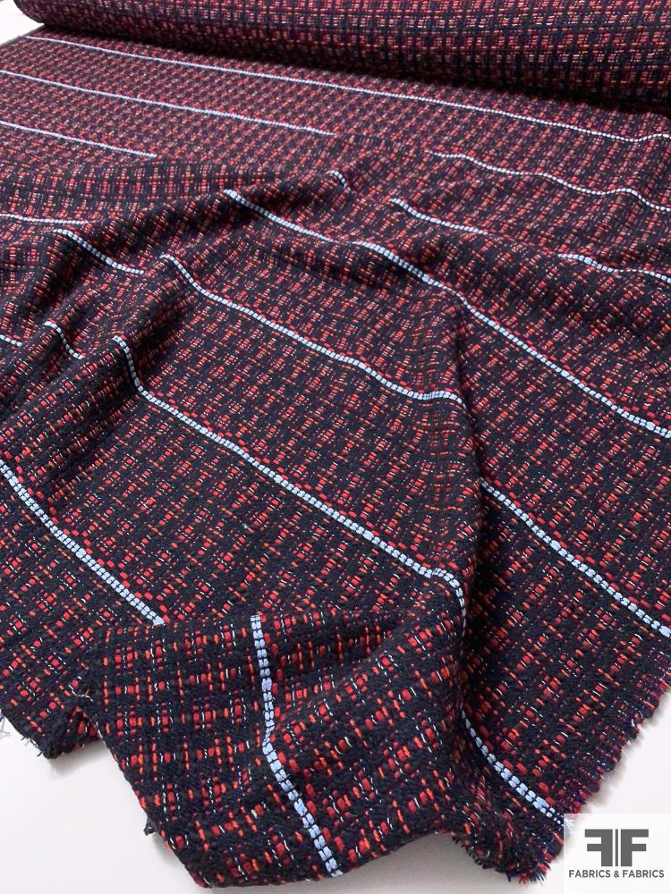 Woven Horizontal Broken Striped Jacket Weight Suiting with Lurex - Navy / Red / Baby Blue