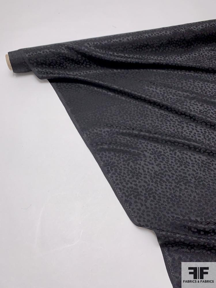 Italian Pebble Pattern Silk Jacquard - Jet Black