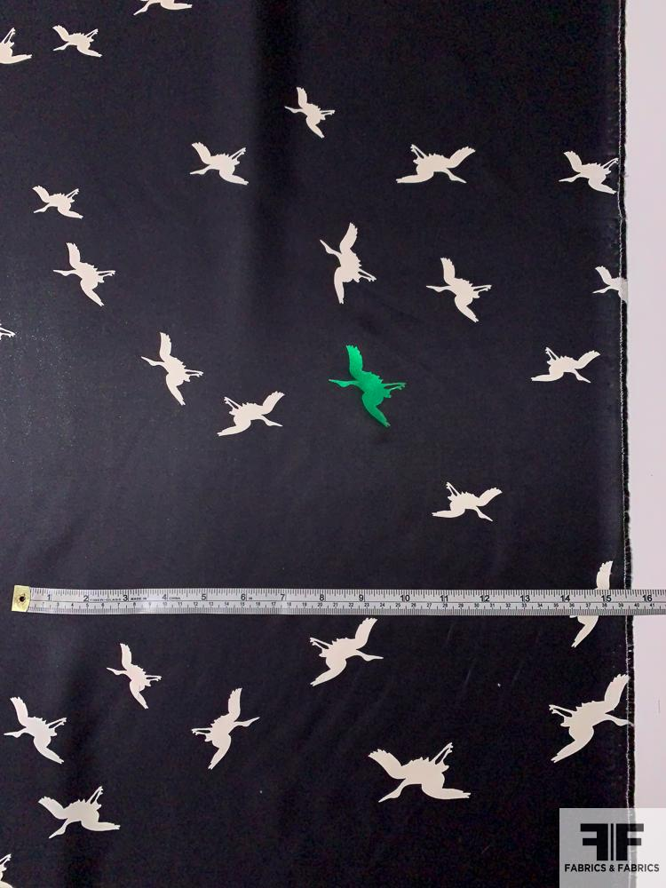 Birds in Flight Printed Silk Twill Panel with Slight Glitter - Black / Off-White / Emerald Green