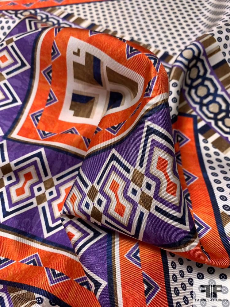 Scarf Motif Printed Silk Twill - Orange / Purple / Off-White / Olive