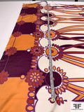 Groovy 80s Floral Printed Silk Twill Panel - Orange / Plum / Purple / Brick