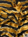 Made in France Tiger Design Silk Viscose Lurex Blend Burnout Panné Velvet - Black / Gold