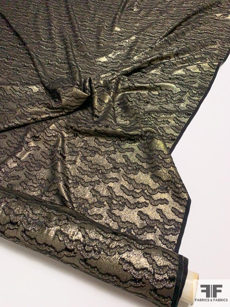 Abstract Design Textured Silk and Lurex Lame - Gold / Silver / Black