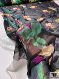 Floral Printed Silk Chiffon with Green Lurex - Black / Green / Magenta / Bold Yellow