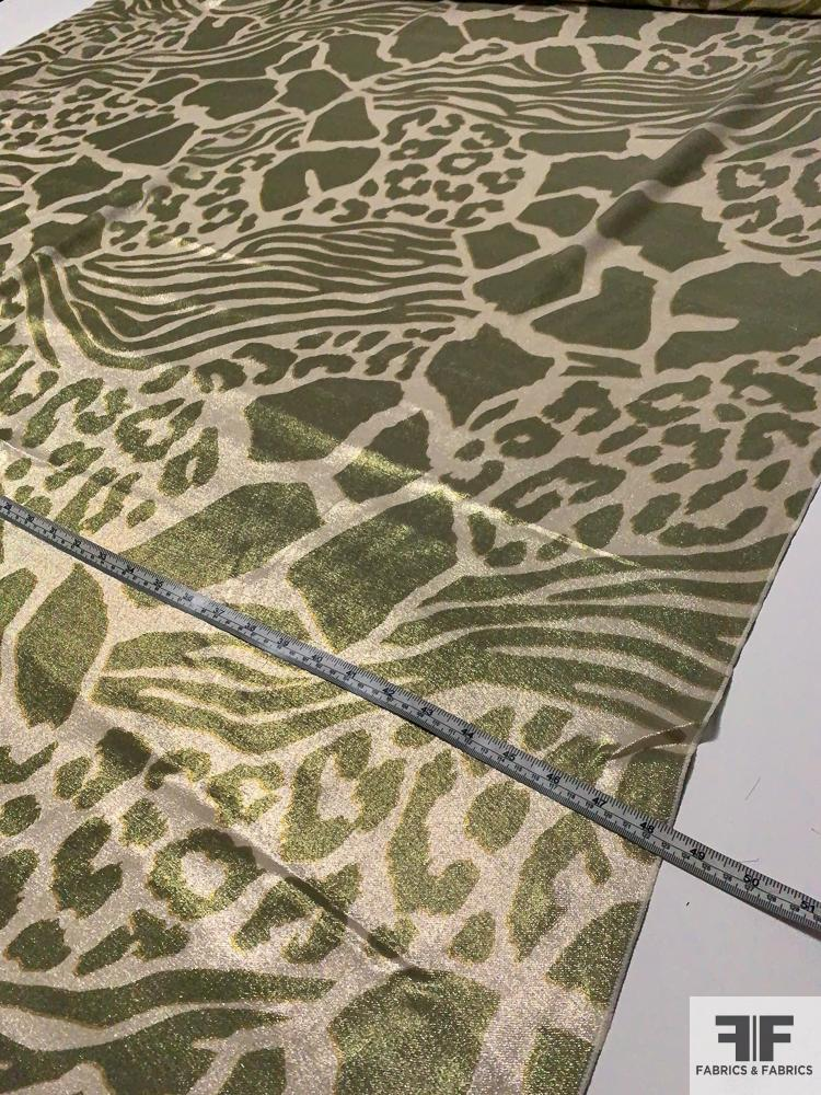 Made in France Animal Pattern Printed Silk Lame - Olive Green / Gold