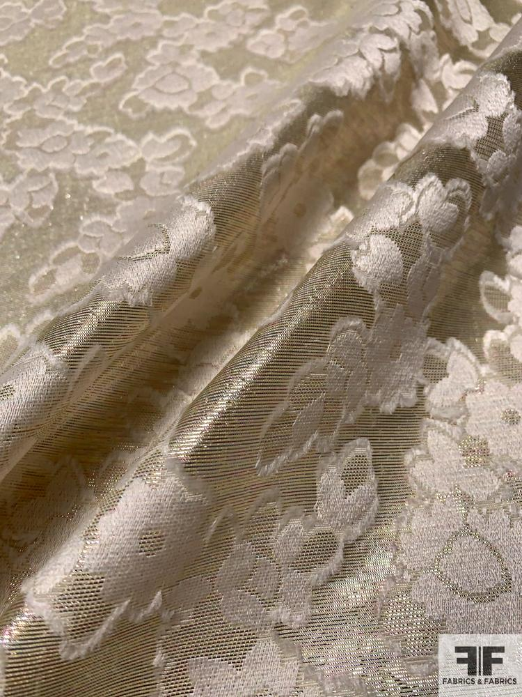 French Tissue Lame with Floral Jacquard Fil Coupe - Lightest Gold / Ivory