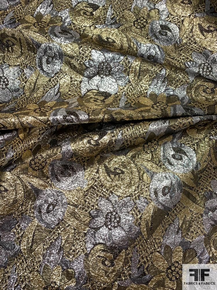 Made in Switzerland Floral Stiff Lame - Gold / Silver / Black