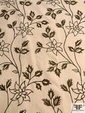 Floral Embroidered Cotton Canvas - Cream / Brown