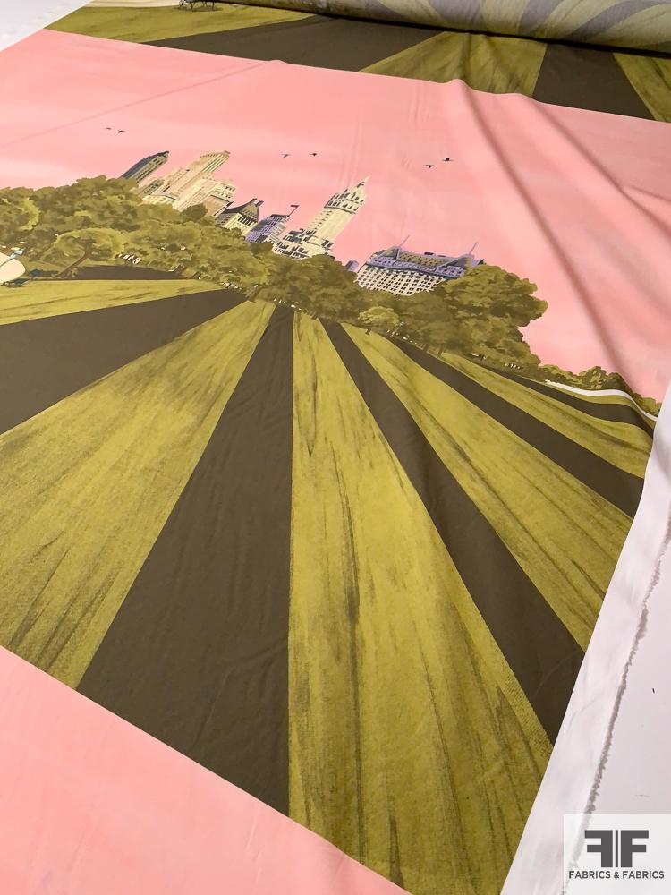 Made in Italy Central Park Printed Cotton Lawn Panel - Pink / Olive / Green