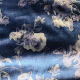 Rose Printed Velvet - Blue/Silver
