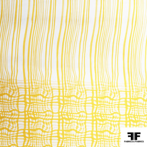 Wavy Check Printed Silk Twill - Yellow