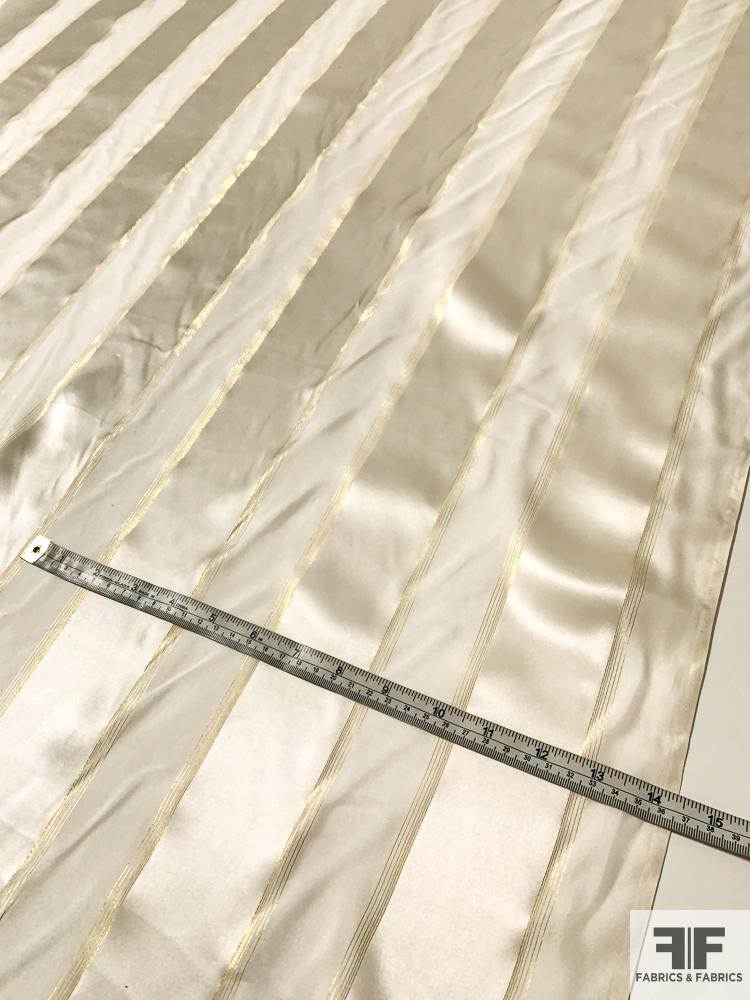 Satin Striped Silk Chiffon with Fine Gold Lurex Stripes - Ivory / Off-White / Gold