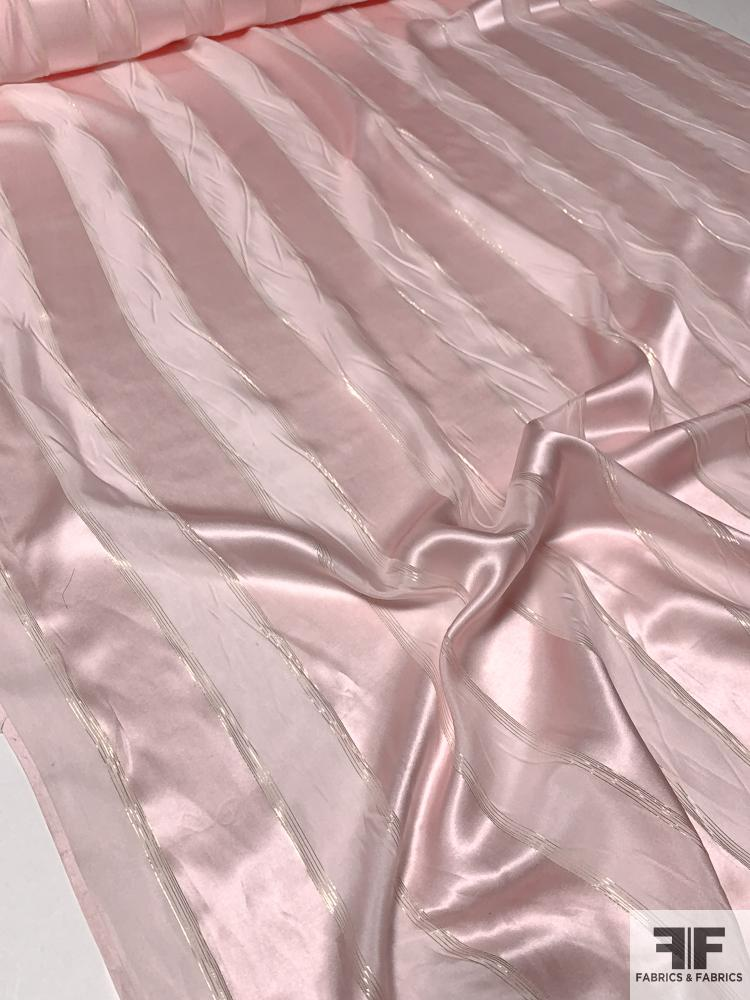 Satin Striped Silk Chiffon with Fine Gold Lurex Stripes - Pink / Gold