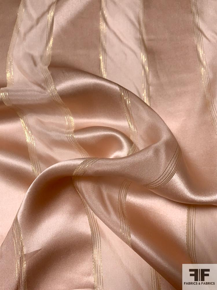 Satin Striped Silk Chiffon with Fine Gold Lurex Stripes - Champagne / Gold