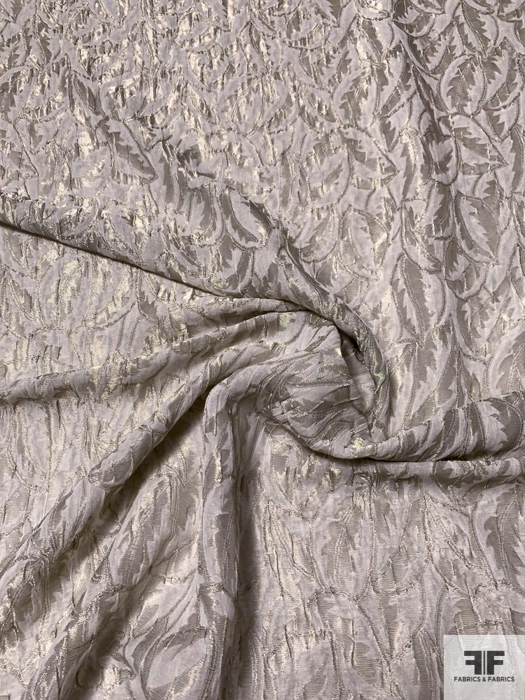 Italian Leaf Pattern Slightly Textured Silk and Lurex Jacquard Lame - Anitque Silver-Gold
