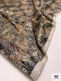 Italian Shrub and Floral Silk and Lurex Lame - Beige / Black / Silver