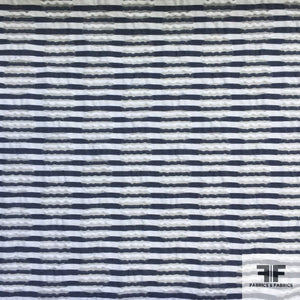 Striped Novelty Cotton - Navy/White