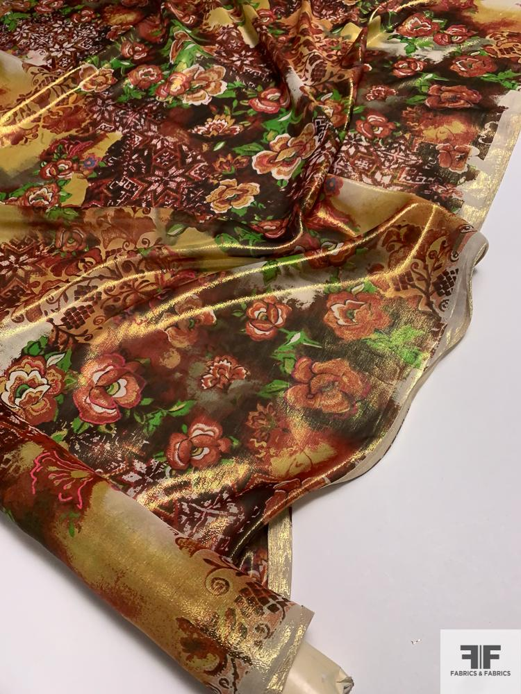 Floral Printed Silk and Lurex Lame - Red / Green / Yellow / Multi