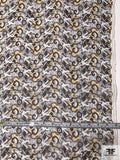 Art Deco Abstract Printed Silk Organza - Brown / Cream / Off-White