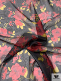 Romantic Floral Printed Silk Organza - Red / Yellow / Black / Mauve
