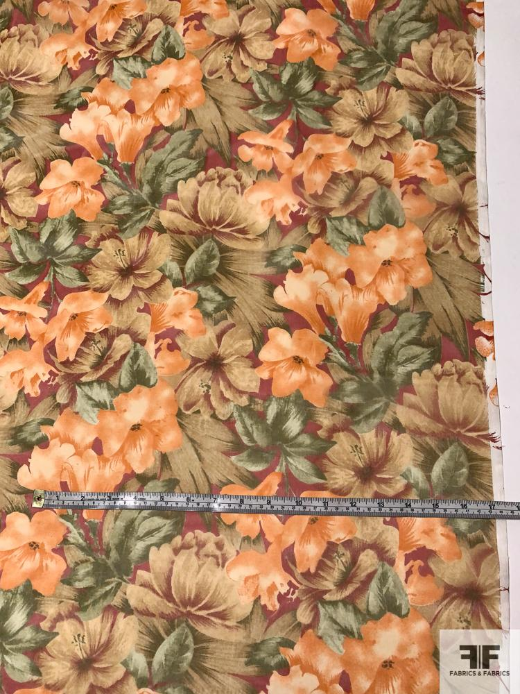 Rustic Floral Printed Silk Organza - Orange / Soft Greens / Red