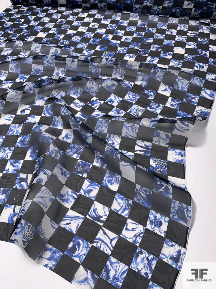 Checkered Abstract Floral Printed Silk Organza - Royal Blue / Black / White