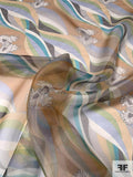 Smooth Braided Striations Printed Silk Organza - Tan / Cream / Teal / White