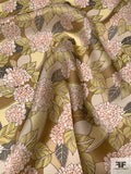 Exotic Floral Printed Satin Face Organza - Earth Tones