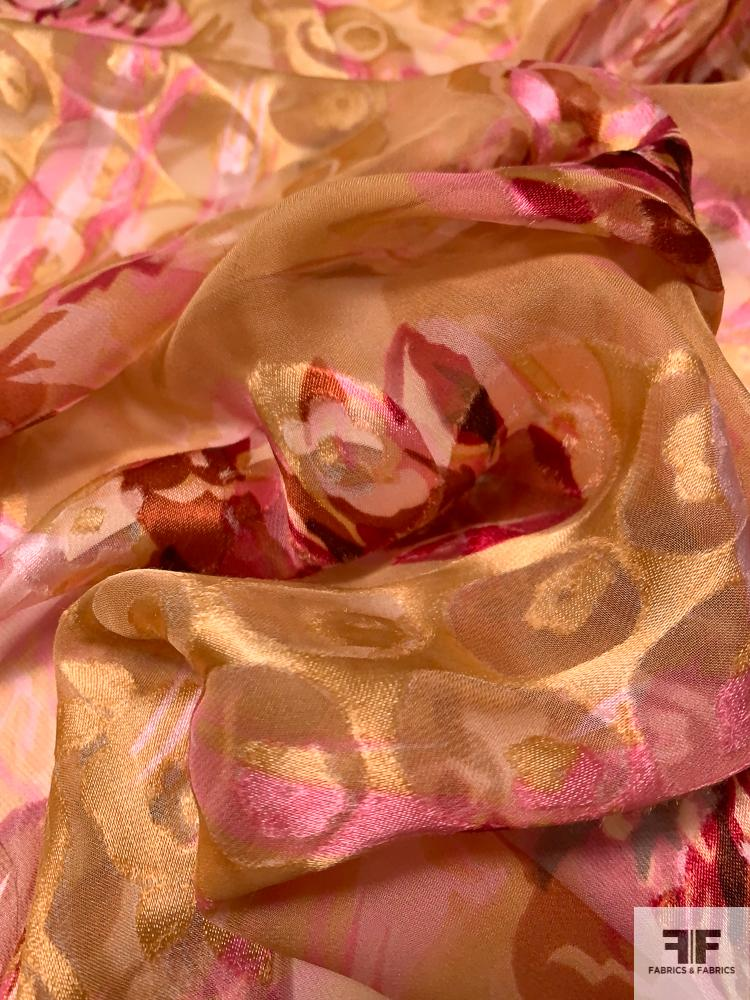 Floral Printed Burnout Silk Chiffon - Orange / Pink / Red