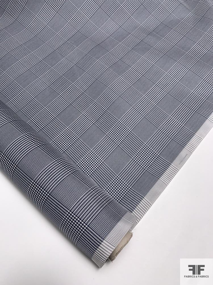 Italian Yarn-Dyed Glen Plaid Silk Gazar - Navy / White
