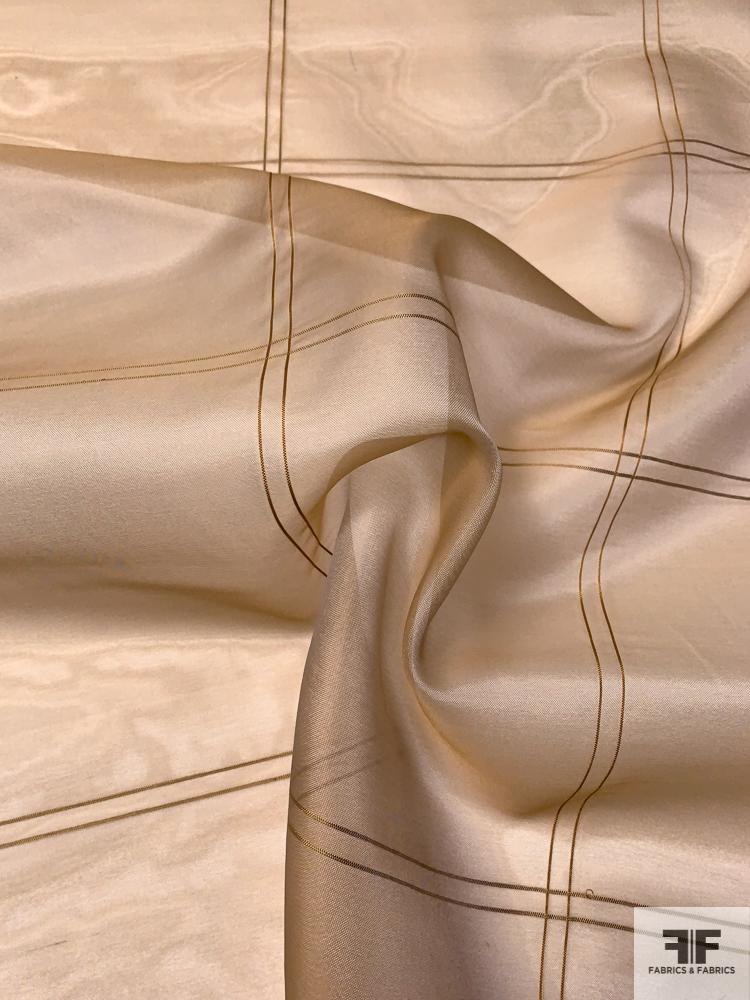Windowpane Plaid Yarn-Dyed Heavy Silk Organza - Biscotti Beige / Off-White