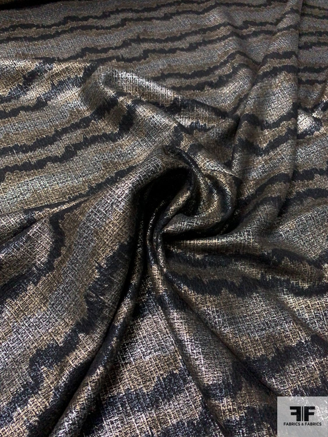 Italian Wavy Striped Foil Printed Tweed - Black / Antique Gold-Silver