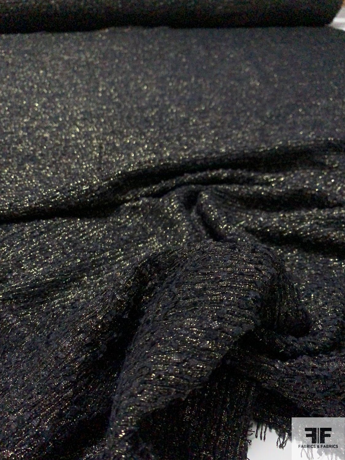 Italian Glam Tweed with Lurex - Black / Gold