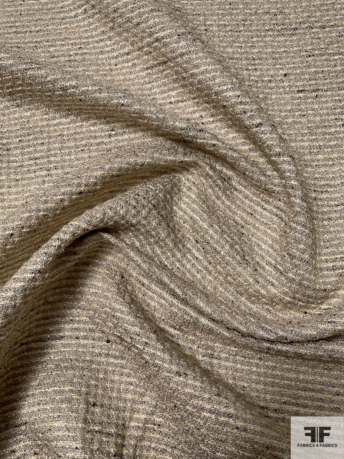 Italian Striped Cotton Blend Lurex Tweed - Grey / Oatmeal / Silver / Gold