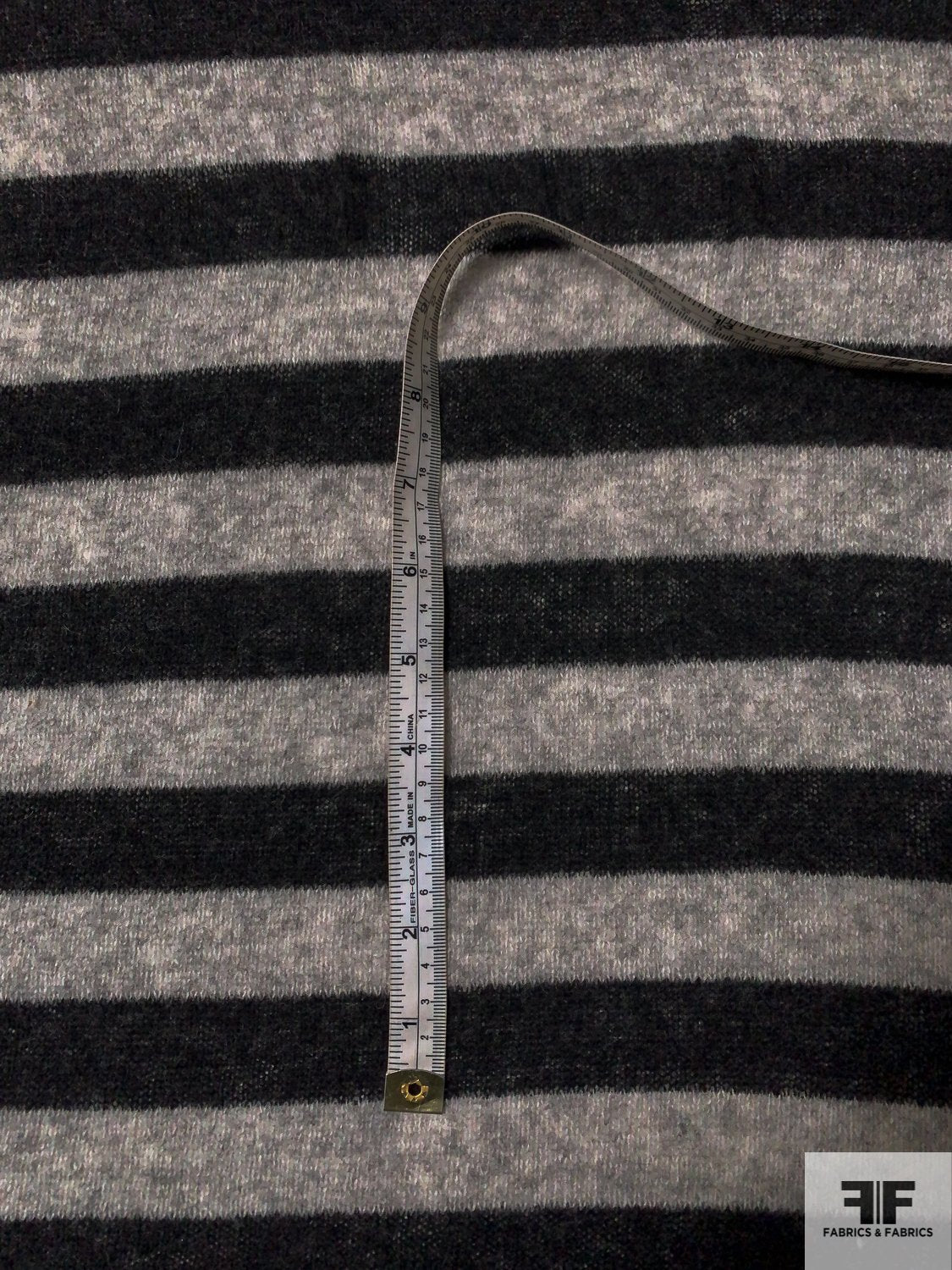 Italian Horizontal Striped Lightweight Wool Sweater Knit - Heather Black / Heather Grey