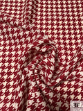 Classic Houndstooth Printed Wool Challis - Maroon / Off - White