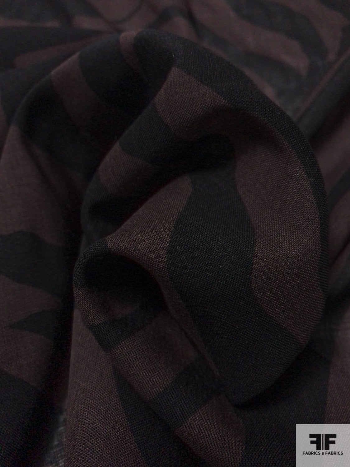 Bold Animal-Like Printed Fine Wool Challis - Brown / Black