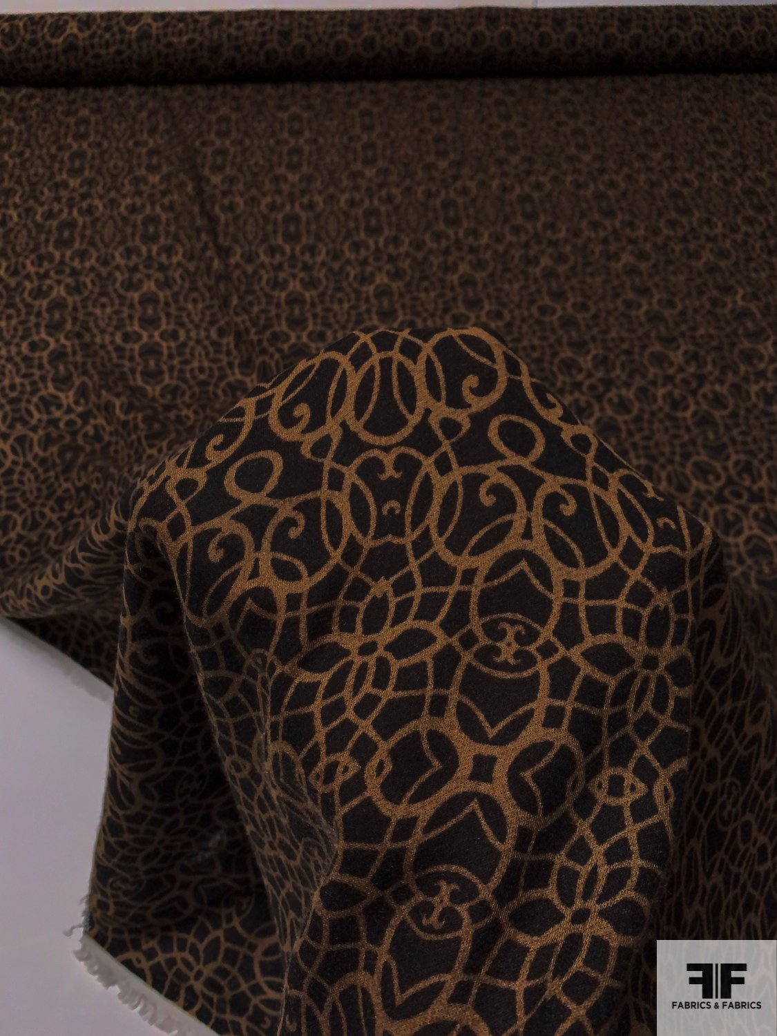 Ornate Damask-Like Printed Rayon Challis Twill - Mocha Brown / Black
