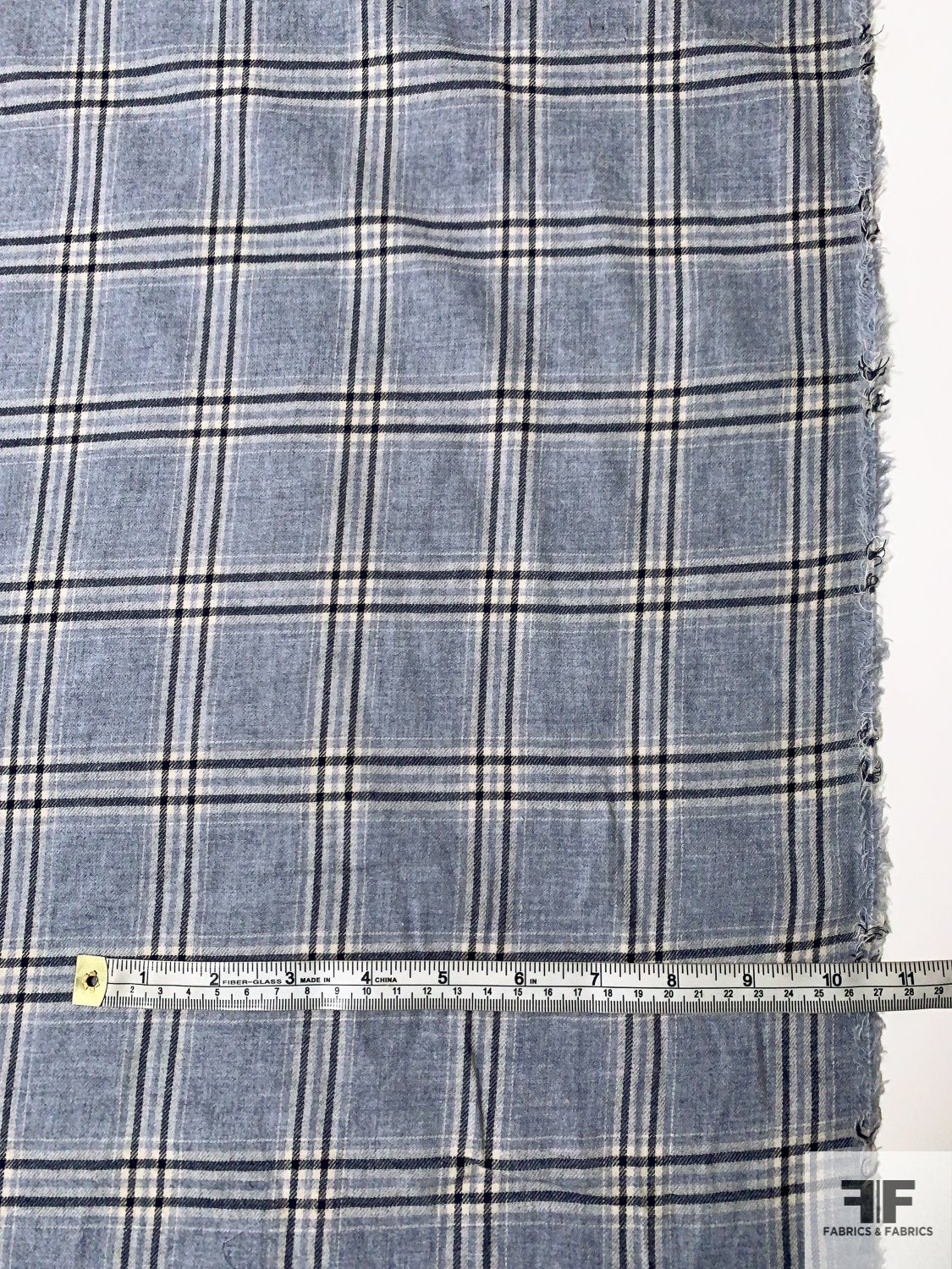 Classic Plaid Yarn-Dyed Rayon Cotton Flannel - Powder Blue / Navy / White