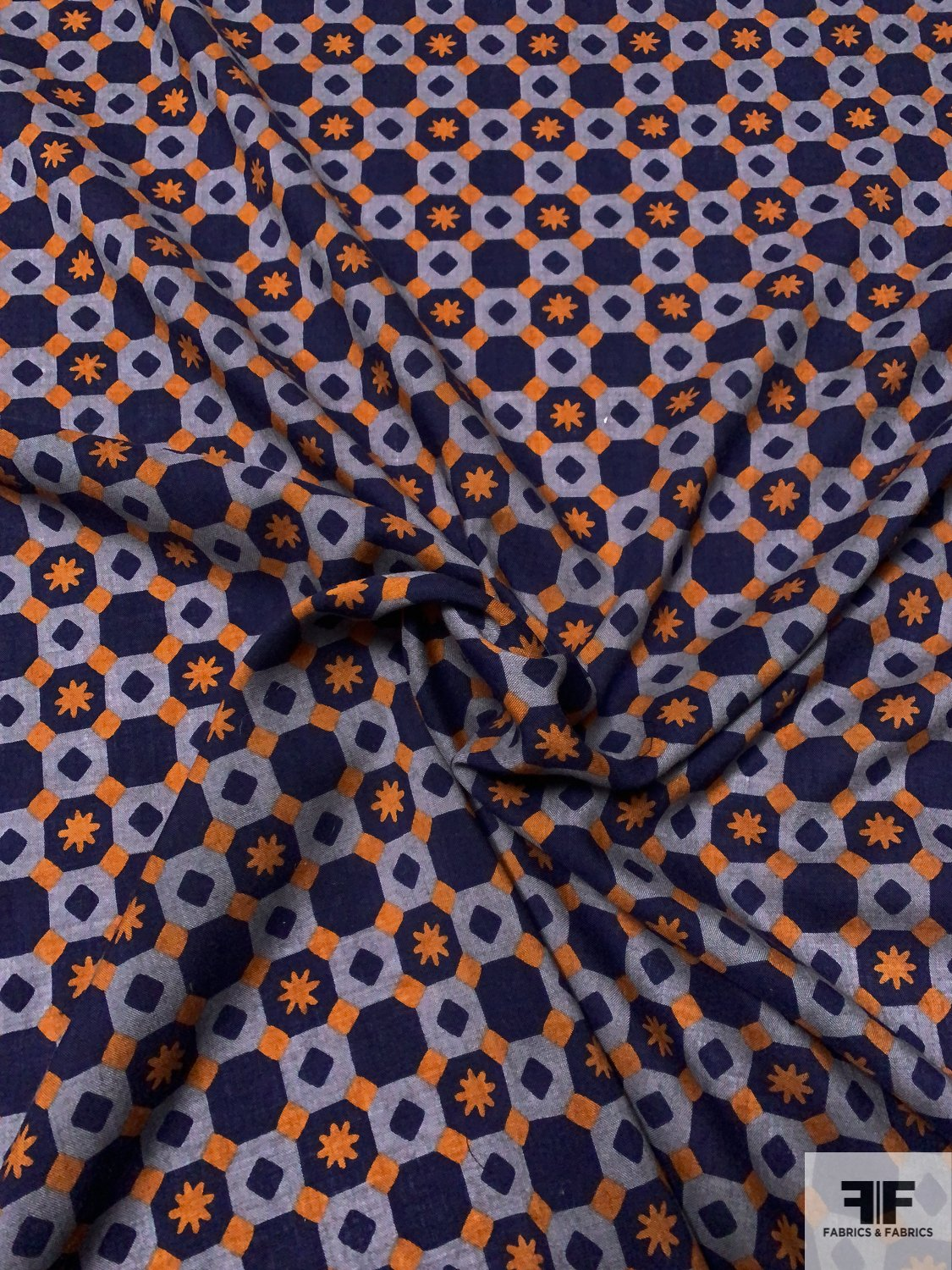 Art Deco Checkerboard Printed Wool Challis - Navy / Powder Blue / Ginger Orange