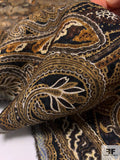 Ornate Paisley Printed Silk and Wool Jacquard - Shades of Brown