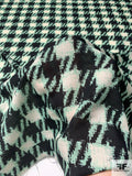 Italian Houndstooth Printed Wool and Viscose Challis - Seafoam Green / Black / Ivory