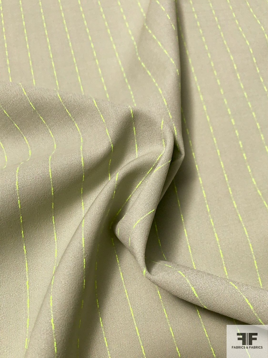 Made in Italy Virgin Wool Blend Suiting with Finely Woven Stripes - Light Sage / Neon Green